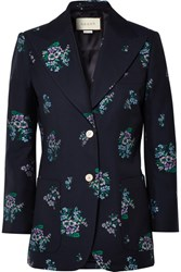 Gucci Cotton And Wool Blend Jacquard Blazer Navy Usd