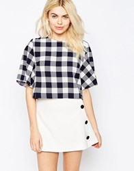 Girls On Film Gingham Checked Crop Top Black White