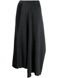 Pringle Of Scotland Colour Block Flared Skirt Grey
