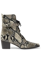 Tabitha Simmons Porter Buckled Snake Effect Leather Ankle Boots Snake Print
