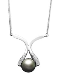 Macy's 14K Gold Necklace Cultured Tahitian Pearl 8Mm And Diamond Accent Pendant Gray