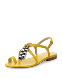 Bettye Muller Sandy Leather Tassel Sandal Yellow