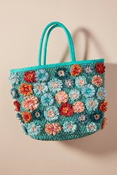 Anthropologie Field Of Flowers Tote Bag Turquoise