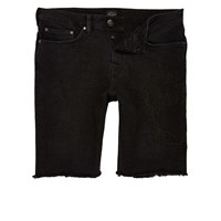 River Island Mens Black Stretch Denim Western Chain Shorts
