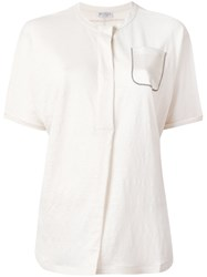 Brunello Cucinelli Silk Pocket T Shirt Nude Neutrals