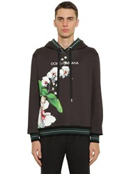 Dolce And Gabbana Printed Cotton Jersey Sweatshirt Hoodie Black