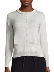 Sacai Pearl Lace Back Cardigan Light Grey White