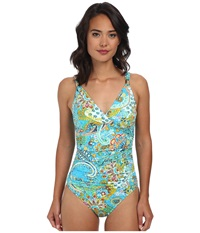 Lauren Ralph Lauren Maldives Paisley Shirred Surplice Underwire Mio Slimming Fit One Piece Turq Multi Women's Swimsuits One Piece Blue