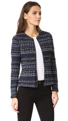 Rebecca Taylor Lurex Tweed Jacket Navy Combo