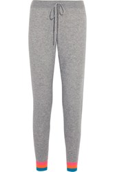 Chinti And Parker Striped Cashmere Track Pants Gray