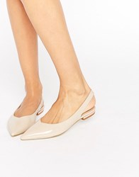 Raid Agatha Nude Slingback Point Flat Shoes Nude Patent Beige