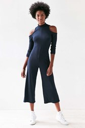 Silence And Noise Mock Neck Cold Shoulder Jumpsuit Navy