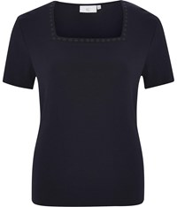 Cc Daisy Embroidered Square Neck T Shirt Navy