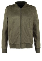 Urban Classics Faux Leather Jacket Olive