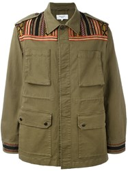Fashion Clinic Timeless Embroidered Panel Field Jacket Green