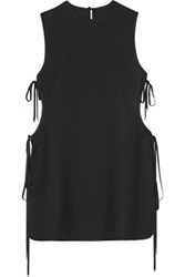 Rosetta Getty Satin Trimmed Lace Up Woven Cady Tunic Black