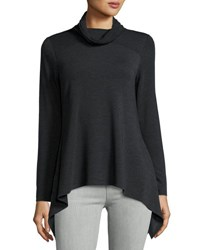 Neiman Marcus Cowl Neck Sharkbite Hem Top Charcoal