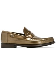 Dolce And Gabbana Brushed Leather Loafers Metallic