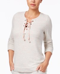 Lucky Brand French Terry Lace Up Pullover Pajama Top Light Grey Heather