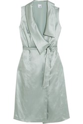 Iris And Ink Asymmetric Belted Silk Satin Dress Mint