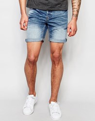 Only And Sons Mid Wash Denim Shorts Mid Blue