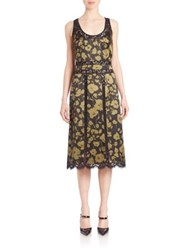 Michael Kors Lace Inset Silk Tank Dress Black Army