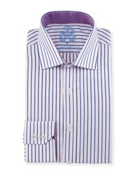 English Laundry Striped Woven Dress Shirt Blue
