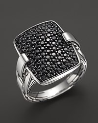 John Hardy Classic Chain Silver Rectangular Ring With Black Sapphire No Color