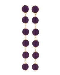 Lydell Nyc Thread Wrapped Sphere Dangle Earrings Purple