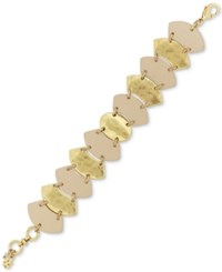 Lucky Brand Gold Tone And Leather Link Bracelet