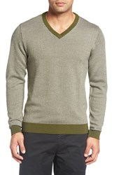 Bobby Jones Men's Herringbone Merino Wool V Neck Sweater Safari