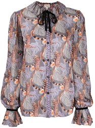 Temperley London Maggie Feather Print Shirt 60