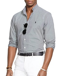 Ralph Lauren Checked Poplin Button Down Shirt Classic Fit Black White