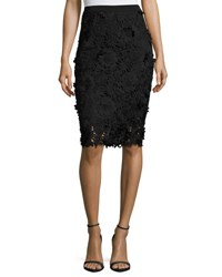 Milly 3D Floral Embroidered Lace Pencil Skirt Black