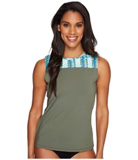 Carve Designs Savannah Rashguard Reed Women's Swimwear Green