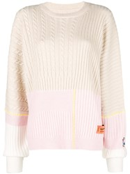 Heron Preston Colour Block Long Sleeve Sweater Nude And Neutrals