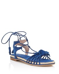 Stuart Weitzman Flowerpot Lace Up Espadrille Sandals Ultramarine Blue