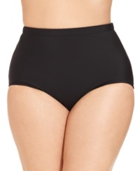 Swim Solutions Plus Size High Waist Swim Brief Bottom Women's Swimsuit