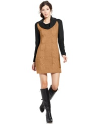 Ny Collection Colorblock Cowl Neck Sweater Dress Beige Black