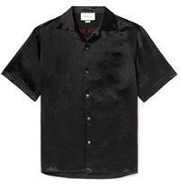 Gucci Camp Collar Embellished Satin Shirt Black