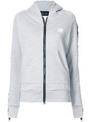 Baja East Fringe Detail Zip Up Hoodie Cotton Polyester Grey