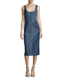 Vilshenko Button Front Denim Midi Dress Blue