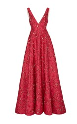 Lela Rose V Neck A Line Gown Pink