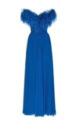 Elie Saab Off The Shoulder Feather Gown Blue