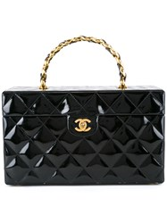 Chanel Vintage Cc Quilted Cosmetic Handbag Black