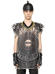Ktz Sheer Rubber And Faux Leather T Shirt Black