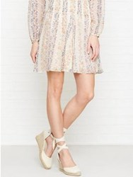 Needle And Thread Floral Stripe Skirt Beige