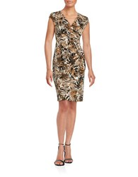 Nipon Boutique Palm Print Ruched Dress Luggage
