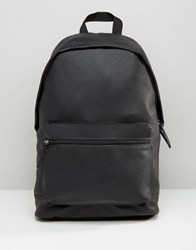 Asos Backpack In Grain Faux Leather Black