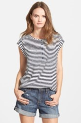 Ace Delivery Stripe Cap Sleeve Shell Blue